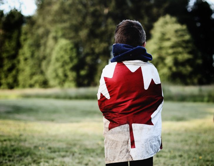person wearing canadian flag