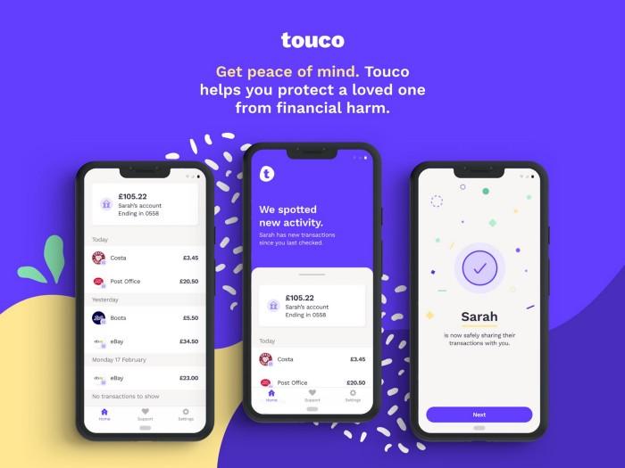 Touco finance management app for vulnerable