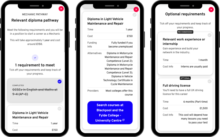 Three screenshots of the Would You Rather Be app showing the relevant pathways to become a mechanic, such as completing GCSEs in English and Maths, and a diploma in light vehicle maintenance.
