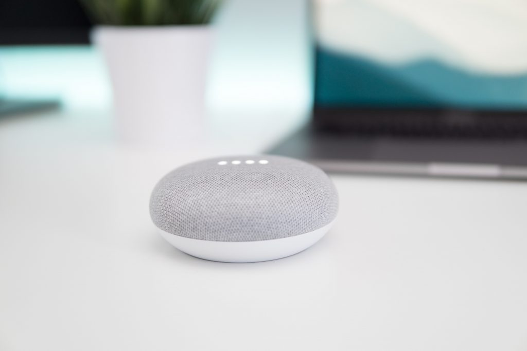 Grey and white smart home device